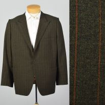 Large 45S 1960s Mens Striped Blazer Red Pinstripe Single Button Peak Lapel No Vent Sportscoat