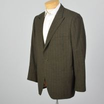 Large 45S 1960s Mens Striped Blazer Red Pinstripe Single Button Peak Lapel No Vent Sportscoat - Fashionconstellate.com