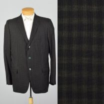 Large 42L 1950s Mens Blazer Black and Black Check Three Button Single Vent Casual Sportscoat Jacket