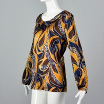 Large 1970s Top Blue Yellow and Brown Psychedelic Print Knit Long Sleeve Shirt