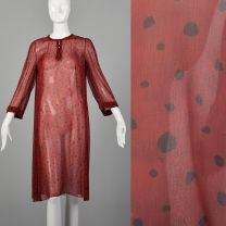 Medium 1980s Tunic Dress Sheer Red and Black Abstract Print Matching Scarf Long Sleeves Top
