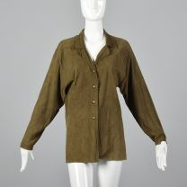 Medium 1980s Top Green Suede Leather Long Sleeves Button Front Shirt Collared Bohemian Blouse