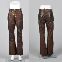 XS 1970s Unisex Brown Leather Pants Antler Button Bell Bottom Rugged Hippie Boho Festival Pants
