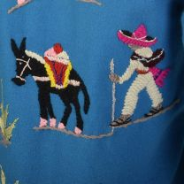 XXS 1950s Souvenir Mexican Tourist Jacket Blue Teal Embroidered Horseshoe Donkey Wool Jacket - Fashionconstellate.com
