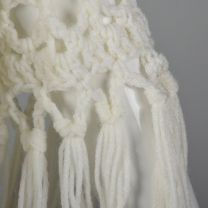 OSFM 1970s White Shawl Crochet Open Weave Wrap Poncho with Fringe   - Fashionconstellate.com