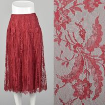 Small 1970s Skirt André Laug for Audrey Hepburn Red Lace Pleated Scallop Hem Designer Midi Skirt