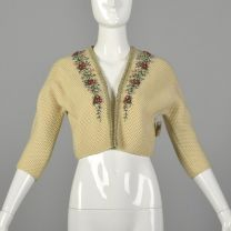 XS 1950s Beige Cropped Cardigan Sweater with Hand Embroidered Beading and Velvet Trim Dolman Sleeves