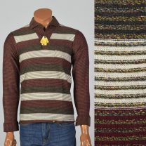 Small 1950s Deadstock Striped Knit Shirt Brent Long Sleeve All Cotton Gold Button Burgundy