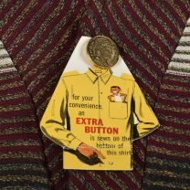Small 1950s Deadstock Striped Knit Shirt Brent Long Sleeve All Cotton Gold Button Burgundy - Fashionconstellate.com
