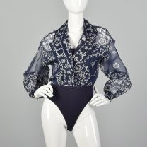 Medium 1990s  Bodysuit Emanuel Ungaro Blue Sheer Long Sleeve Blouse Navy Tank Top Snap Crotch