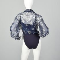Medium 1990s  Bodysuit Emanuel Ungaro Blue Sheer Long Sleeve Blouse Navy Tank Top Snap Crotch  - Fashionconstellate.com