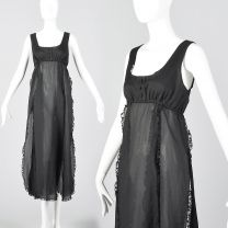 Small 1970s Saks Fifth Avenue Sheer Black Nightgown Car Wash Hem Sexy  Vintage Lingerie