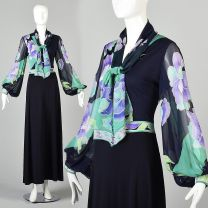 Small 1970s Maxi Dress Leonard Floral Abstract Print Chiffon Long Poet Sleeves Pussy Bow Long Gown
