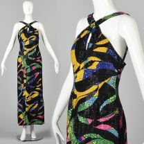 Small 1990s Michael Novarese Formal Dress Beaded Maxi Evening Gown Abstract Geometric Print Halter