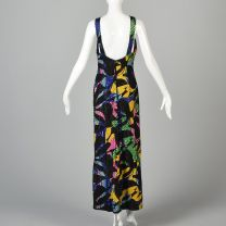 Small 1990s Michael Novarese Formal Dress Beaded Maxi Evening Gown Abstract Geometric Print Halter - Fashionconstellate.com