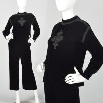 Small 1960s Two Piece Black Velvet  Set Culotte Pants and Celtic Cross Long Sleeve Tunic Top