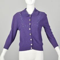 XS 1950s Embroidered Purple Cardigan Sweater Spring Autumn Separates
