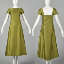 XXS 1960s Malcolm Starr Green Short Sleeve Dress with Gold Back Buttons