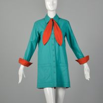 Medium Green Tunic 1970s Long Sleeve Button Up Shirt Red Tie Top  - Fashionconstellate.com