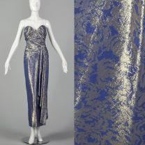XS 1970s Gown Blue & Gold Lamé Strapless Sweetheart Formal Evening Maxi Prom Dress