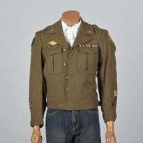 Medium 1944 Mens Military Ike Jacket with Pins Patches Wool Eisenhower Green Pockets 1940s WWII