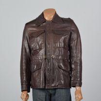 Medium 38 1960s Mens Brown Leather Jacket Wide Collar Patch Pockets Front Zip