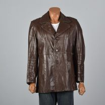 Medium 39R 1970s Mens Leather Jacket Brown Leather Reenforced Pockets Partial Plush Liner Coat