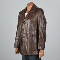 Medium 39R 1970s Mens Leather Jacket Brown Leather Reenforced Pockets Partial Plush Liner Coat - Fashionconstellate.com