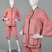 XXS 1950s Quilted Pajama Set Long Sleeve Patch Pockets Pink Pants Gold Topstitch Black Trim