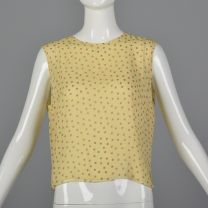 Medium Yellow Silk Blouse Pink Polka Dots Sleeveless Tank Top Lightweight Shirt Keyhole Back Summer