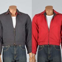 XS 1950s Reversible Ricky Jacket Red Ribbed Cotton Gray Plaid Zip Front Lightweight Coat