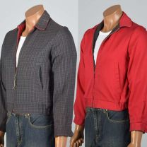 XS 1950s Reversible Ricky Jacket Red Ribbed Cotton Gray Plaid Zip Front Lightweight Coat - Fashionconstellate.com