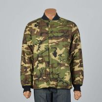 Large Mens 1970s Quilted Camo Jacket Rib Knit Cuffs Pockets Puffy Camouflage Hunting Winter