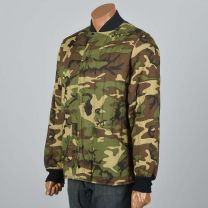 Large Mens 1970s Quilted Camo Jacket Rib Knit Cuffs Pockets Puffy Camouflage Hunting Winter  - Fashionconstellate.com