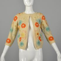 Small 1960s Boho Cardigan Sweater with Colorful Floral Embroidery