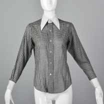Small 1970s Top Black and White Gingham Plaid Blouse Long Sleeve Button Up Shirt Pointed Collar