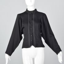 Medium 1980s Top Wool Gabardine Black Blouse Dolman Long Sleeves Button Down Shirt