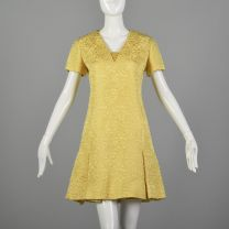 Medium 1960s Dress Christian Dior Yellow Floral Brocade Quilted Pleated Mini Skirt Short Sleeves