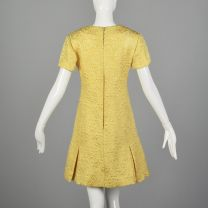 Medium 1960s Dress Christian Dior Yellow Floral Brocade Quilted Pleated Mini Skirt Short Sleeves - Fashionconstellate.com