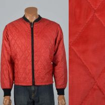 Large 1960sMens Red Jacket Quilted Bomber Rib Knit Cuffs Red Zip Front Lightweight Black Trim Coat