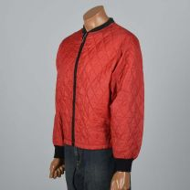 Large 1960sMens Red Jacket Quilted Bomber Rib Knit Cuffs Red Zip Front Lightweight Black Trim Coat - Fashionconstellate.com