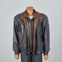 XL Mens 1990s Navy Leather Jacket Zip Front Snap Cuffs Supple Fully Lined Double Collar Brown Trim