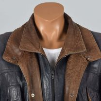 XL Mens 1990s Navy Leather Jacket Zip Front Snap Cuffs Supple Fully Lined Double Collar Brown Trim  - Fashionconstellate.com
