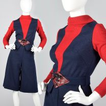 XS 1970s Navy Short Culottes Pants Matching Red Long Sleeve Turtleneck Peplum Top