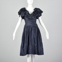 XS 1980s Morton Myles Navy Ruched Party Dress with Pink Peek-A-Boo Crinoline