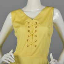 Large 1970s Yellow Romper Lace Front Silky Playsuit  - Fashionconstellate.com