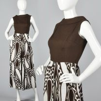 XS 1970s Brown Jumpsuit Wide Leg Paisley Print Sleeveless Bodice Linen Look