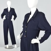 XS 1980s St. John Blue Knit Long Sleeve Jumpsuit Wide Leg Button Pleated Front