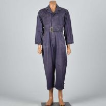 38R Small 1940s Mens Coveralls Purple Cotton Twill Pleated Action Back Distressed Jumpsuit Workwear - Fashionconstellate.com