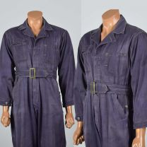 38R Small 1940s Mens Coveralls Purple Cotton Twill Pleated Action Back Distressed Jumpsuit Workwear